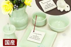 陶器仏具セット(グリーン)