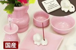 陶器仏具セット(ピンク)